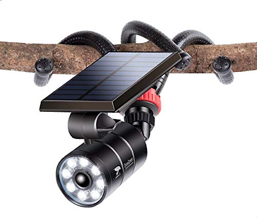Solar Motion Sensor Light Outdoor Aluminum 1400-Lumen(130W Equi.) Camping Solar Emergency Flood Security Spotlights for Camp Driveway Patio Path Garden, 100-Week 100% Free Replacement Guarantee