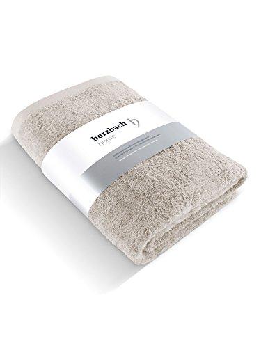 herzbach home Luxus Saunatuch Handtuch Premium Qualität aus 100{48121f23034326132875ec71ff0834c1b3f55570a0348e2896ddeda2fe026a98} ägyptischer Baumwolle 85 x 200 cm 600 g/m² (Sandgrau)