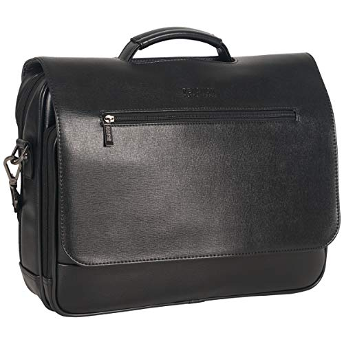 Kenneth Cole Reaction Wall-Street Hustle Saffiano Anti-Theft RFID 15.6' Laptop Case / Tablet Bag, Black