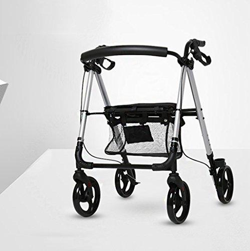 SI YU Lichtgewicht Premium Walker Rollator Opvouwbaar Zeer Gemakkelijk Te Gebruiken Oude Man Trolley Aid Walker Vier Rondes Aluminium Winkelwagen