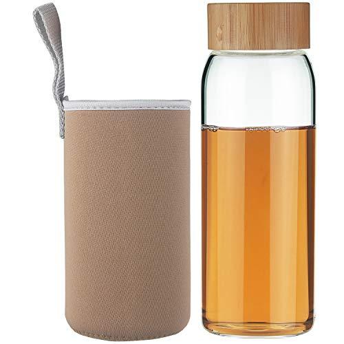 Life4u Borosilikat Trinkflasche Glas Wasserflasche Glasflasche mit Neoprenhülle BPA Free 750 ml Gold