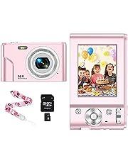 CLUINIGO Fotocamera digitale 1080P HD Macchina Fotografica Include 32GB SD carta,Videocamera digitale Vlogging Mini Video Fotocamer 16x Zoom per studenti, anziani, bambini,principiante-Rosa