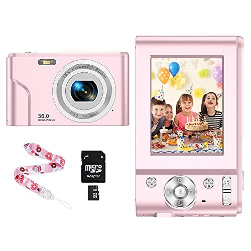 CLUINIGO Compactas Cámaras Digitales,Cámara de Fotos 1080P HD Recargable Video Cámaras Digitales Zoom Digital 16X con Tarjeta SD de 32GB para Estudiantes, Personas Mayores, Adolescentes, Adultos-Rosa