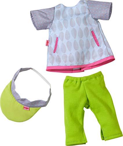 HABA 305536 - Kleiderset Sportzeit, Set aus Kleid, Leggings und Schildmütze, Puppenzubehör für alle 32 cm großen HABA-Puppen, Spielzeug ab 18 Monaten