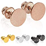 modabilé Pendientes de botón para damas redondo de plata de ley 925 (8mm) CIRCLE Aretes oro rosa chapado en oro: Círculo, Pequeño & Plano + Estuche de regalo | Hecho en Europa