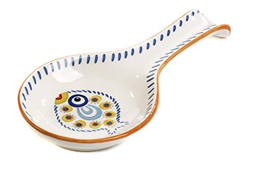 Appoggia mestolo, Cucchiaio in Ceramica Smaltata Collezione Profumo di Mare confezionato con Elegante Scatola Bomboniera Regalo