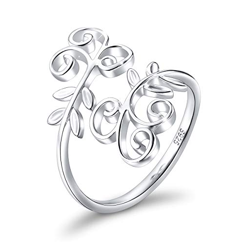Ring for Women S925 Sterling Silver Adjustable Wrap Open Ring -SILVER MOUNTAIN