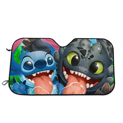Foldable Lilo & Stitch Car Front Window Sunshade Uv Protect to Keep Your Vehicle Cool and Damage Free