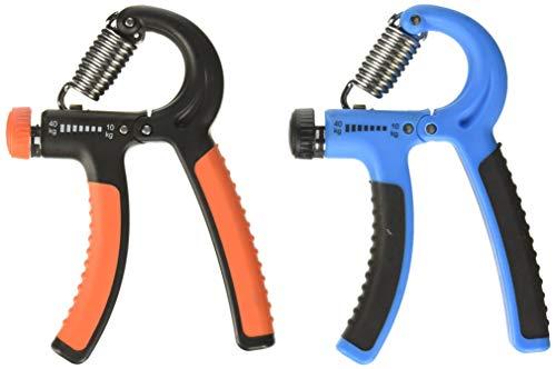 2 Pack Adjustable Hand Strengthener, FineGood Agarres mano Antebrazo Manos Muñeca Caucho Mango Grip Gripper Ejercitador Rango Resistencia 10-40kg para Mujeres Hombres Niños - Azul, Naranja