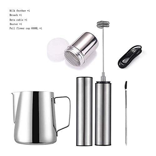Montalatte latte elettrico ugello con doppio Fruste di ricarica USB Modalità 16PCS caffè Stencil As Milk Frother Schiuma di latte Uovo Mixer for caffè, del latte, cappuccino, il tempo di cottura (Dime