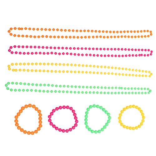 Balacoo Collar Y Pulsera de Cuentas de 4 Colores Favores de La Fiesta de Cumpleaños Fiesta de Neón Suministros Decoraciones para Mujeres Y Niñas