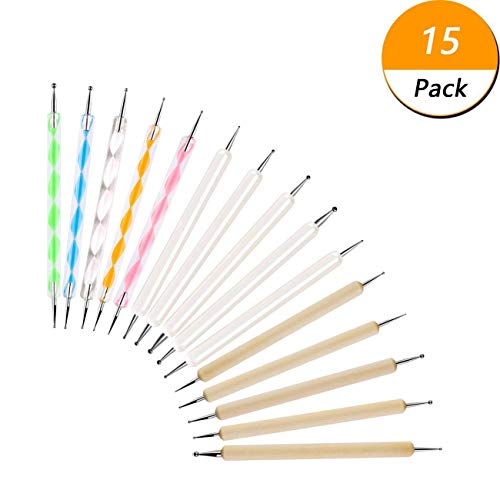 15PCS Dotting Tools Set for Nail Art, Ball Embossing Stylus for Transfer Paper, Tracing Tools for Drawing, Embossing Tools for Paper, Mandala Dotting Tools Set, Ball Tip Clay Tools Sculpting Stylus