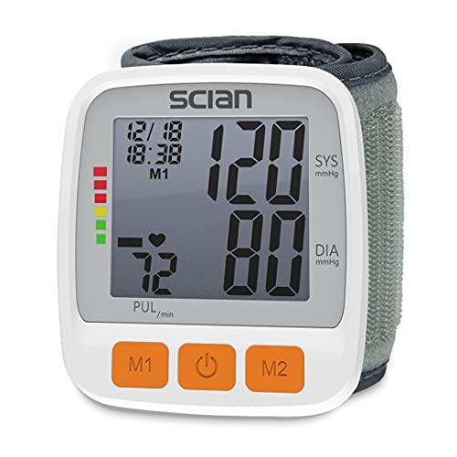 SCIAN Monitor de presión arterial digital ajustable muñeca brazalete y pantalla LCD grande 2x90 memoria de lectura automática para el hogar y clínico