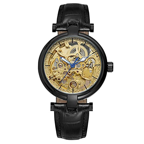 QHG Skeleton Automatic Steampunk Watches Gold-Tone Luminoso Manos de Cuero Correa Muñeca (Color : D)