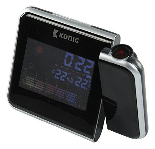 König Uhren LCD-Projektionsuhr mit Wetterstation, schwarz