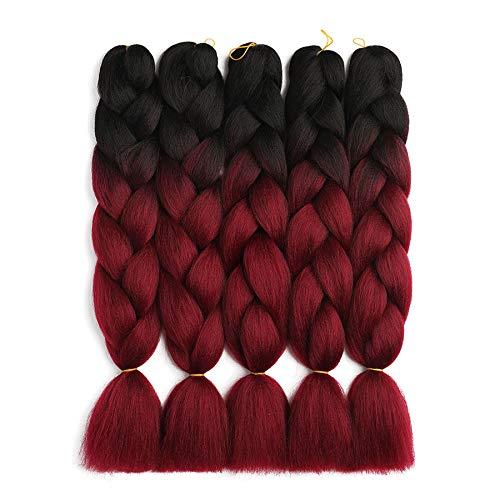 LUCASHA Ombre Kanekalon Braiding Hair 5pcs/lot Ombre Jumbo Braiding Hair Extensions 24 Inch Jumbo Braid Synthetic Hair for Braiding(T1b/99J)