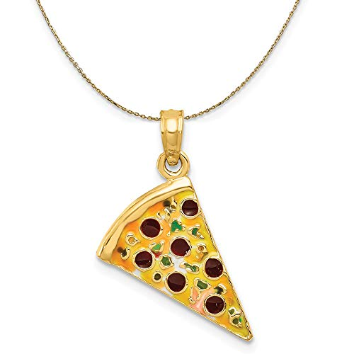 Black Bow Jewellery Company 14k Yellow Gold Enameled Pizza Slice Necklace - 24 Inch