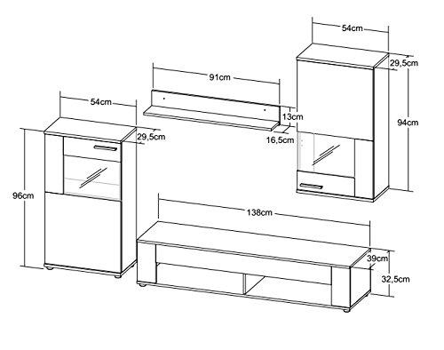 Wohnwand günstig in weißer Betonoptik inkl. LED Beleuchtung kaufen  Bild 1*