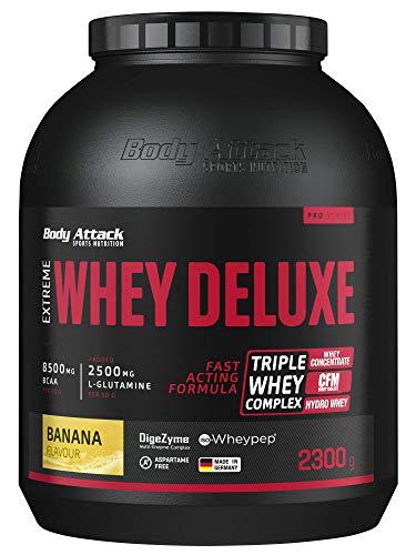 Body Attack Extreme Whey Protein Deluxe - hoher Eiweisgehalt - schnelle Nährstoffverarbeitung - fettarm & zuckerreduziert - 2500mg L-Glutamine - 8 B-Vitamine, Banana Cream, 2,3kg, Dose Eiweißpulver