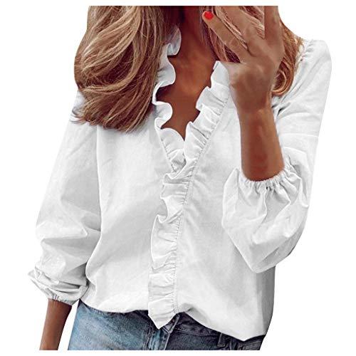 YBWZH Oberteil Damen Sommer Rüschen T-Shirt V-Ausschnitt Lange Ärmel Hemd Slim-Fit bedrucktes Shirt Tunika Bauchfreies Top Mädchen Sommershirt Hemd Bluse Freizeithemd