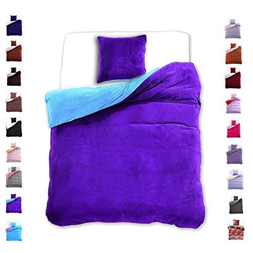 DecoKing 155x220 cm Bettwäsche mit 1 Kissenbezug 80x80 Mikrofaser Weich Warm Winter Kuschelig Bettbezug Bettwäschegarnitur blau violett Blue Furry