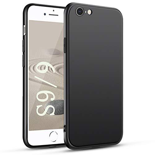 Agedate Für iPhone 6s Hülle iPhone 6 Handyhülle Schwarz Silikon Case Cover Fallschutz rutschfest Mattierte TPU Schutzhülle mit iPhone 6/ 6s - Schwarz