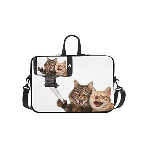 Laptop Sleeve Funny Cats Self Picture Selfie Stick Waterproof Laptop Shoulder Messenger Bag Pouch Bag Case Tote with Handle Fits 14 Inch Netbook/L
