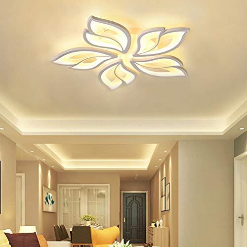 Modern Wohnzimmer Schlafzimmer Deko LED Lampe Deckenleuchte Dimmbar mit Fernbedienung Deckenlampe Blume Design Decke-Pendelleuchte Acryl Schirm für Esstisch Wohn Küche Mädchen Zimmer Bad Leuchten