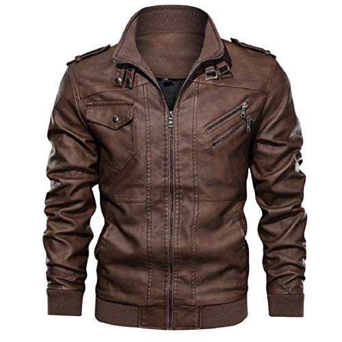 Learn More About LowProfile Men's Fashion Zipper Bomber Jacket Leather Motorcycle Punk Slim Fit Coat...