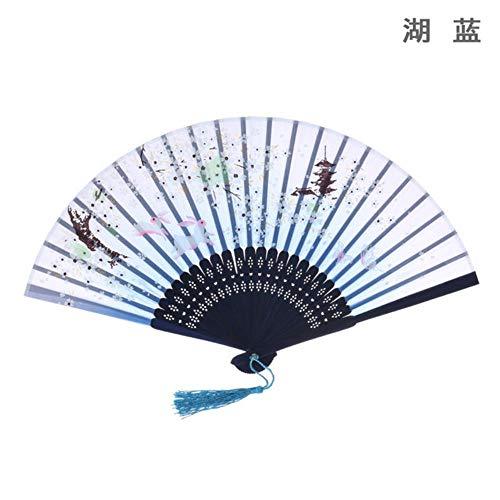 SHANGH Faltfächer, chinesischer Stil, klassischer Tanzfächer, Geschenkfächer, Kirschblüten, baumwollähnlicher Lustring-Faltfächer seeblau