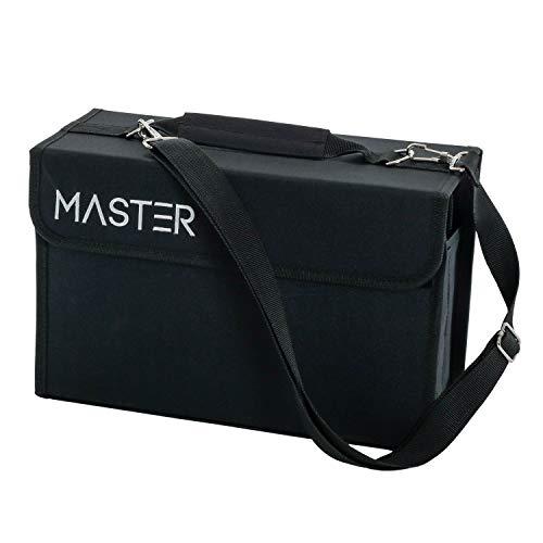 Universal Black 80 Slot Premium Heavy-Duty Nylon Marker Storage Case with Shoulder Strap - Works...
