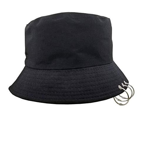 Kpop Bucket-Hat with Rings,Fisherman-Cap - Men Women Unisex Caps with Iron Rings (Black)