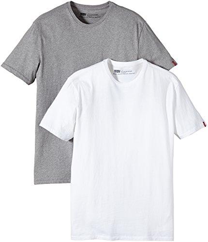 Levi's  2 Pack Crew - Camiseta para Hombre, Gris (Heather