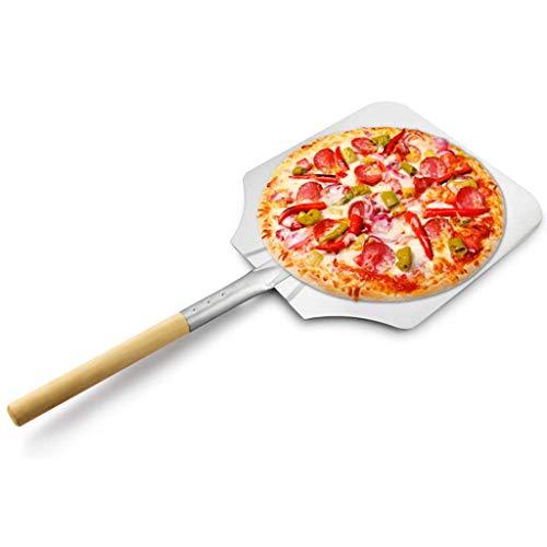 FZYE Cáscara de Pizza de Metal de Aluminio, Pala de Pizza con Mango para Amantes de la Pizza casera, Cocineros y Principiantes por Igual, para Hornear Pan, Barbacoa, 14 x 16 Pulgadas, A