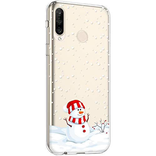 Surakey Silikon Hülle für Huawei P30 Lite Hülle,Xmas Christmas Weihnachten Schneeflocke Muster Ultra Dünn Durchsichtig TPU Silikon Handyhülle Schutzhülle Case Cover für Huawei P30 Lite
