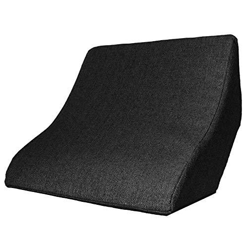 Cojín de lectura y soporte lumbar para una posición óptima al sentarse. Cojín cuña, cojín de espalda para leer, ver la televisión, jugar y relajarse, para cama, sofá y sofá (negro, 52 x 50 x 21 cm)