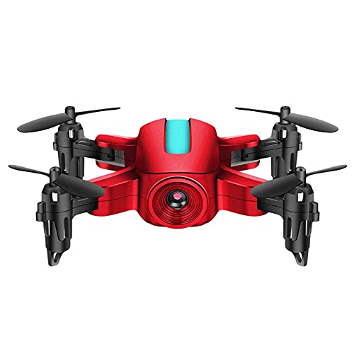 FDSGEWW Mini Drone Pieghevole con Videocamera per Adulti 1080P HD WiFi Trasmissione in Tempo Reale Batteria a Lunga Durata 4 Canali Nero Bianco Rosso