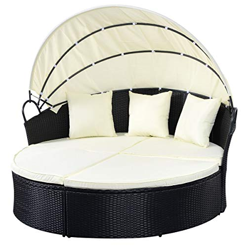 USA_Best_Seller New Chic Outdoor Furniture Patio Rattan Round Retractable Canopy Daybed Patio Twin Cushion Chaise Pool Sofa Garden Backyard Mattress Decor Durable Long Lasting