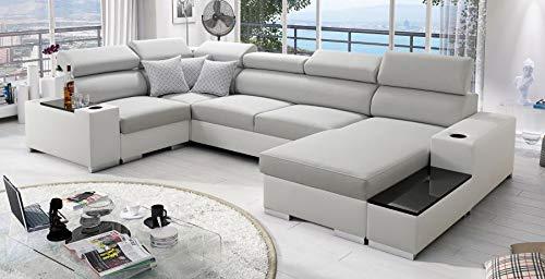 Großes Ecksofa Schlaffunktion Wohnlandschaft Passe Abstellfläche Polstersofa Couch 26