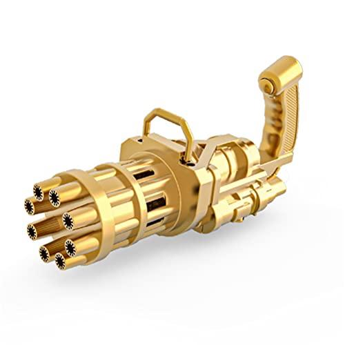 JianH Gatling Bubble Machine 2021, Spielzeug im freien Bubble Machine Für Kinder Hochzeitsbedarf Elektrischer Ton Und Licht Automatisch Blasenmaschine Gebläsepistole Seifenblasenprodukte,Gold