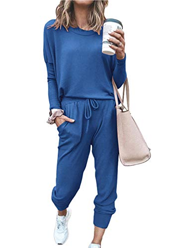 PRETTYGARDEN Women's Casual Two Piece Outfit Long Sleeve Crewneck Pullover Tops And Long Pants Sweatsuits Tracksuits(Blue,Medium)