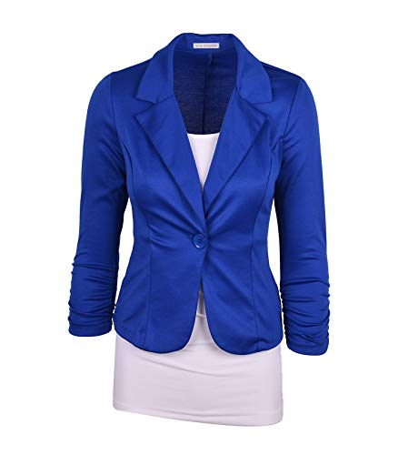 Auliné Collection Women's Casual Work Solid Color Knit Blazer Royal Blue Medium