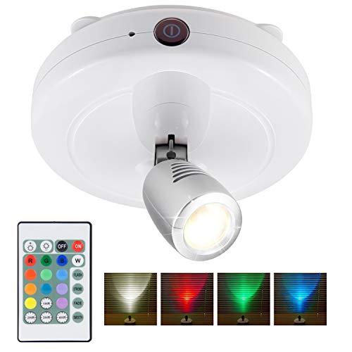 HONWELL RGB Spot Lampe LED Wireless Deckenstrahler mit Fernbedienung Puck Licht Leselampe Timer AA Batteriebetrieben Nachtlicht mit Drehbar Licht Kopf für Spiegelanstrich Dartscheibe,Weiß