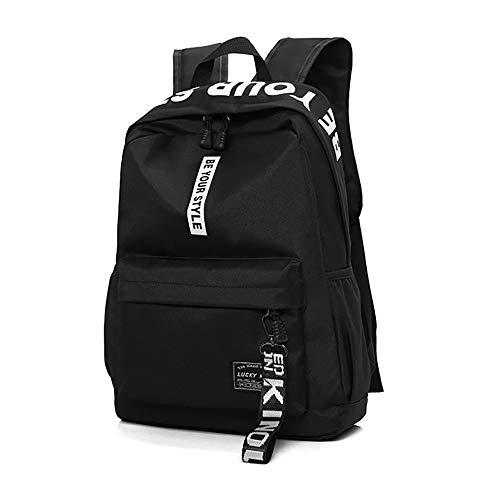 HENZIN Schulrucksäcke Teenager Mädchen Schultaschen Multifunktion Canvas Schultasche Wasserdicht Groß Schulrucksack Backpack Daypacks für 12-15.6 Zoll Laptop Notebook geeignet für Damen Herren-Schwarz