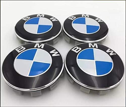 Tapacubos Llanta de Aluminio, Tapa Centro llanta,Compatible Modelo BMW Serie: 1 2 3 4 5 6 7 8 X1 X3 X4 X5 X6 Z3 Z4. 68mm – 4 Unidades