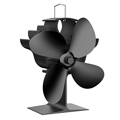 OCROUKI Wood Stove Fan,4 Blades Heat Powered Fireplace Fan,Silent Heat Powered Wood Stove Fan,No Electricity Required,for Gas/Pellet/Wood Log Burner Fireplace (black)