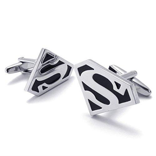 Zealmer 316L Stainless Steel Super Hero Cufflinks for Mens Shirt 1 Pair