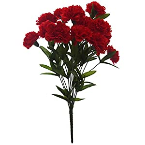 Fourwalls Artificial Synthetic Carnation Bunch with 14 Flower Heads (48 cm, Red)