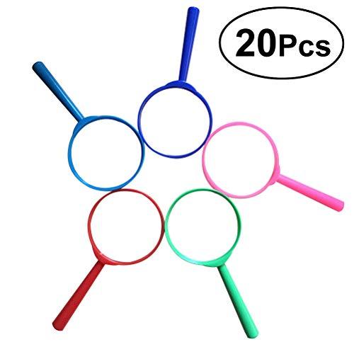 TOYVIAN 20pcs Lupas Coloridas,plastico Lupa de Pedazos para los favores del Partido de los niños
