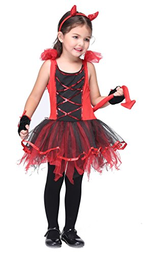 Bigood Costumes Déguisement Cospaly Diable pour Enfant Fille pour Halloween S